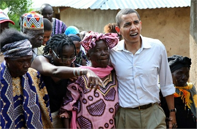 President Obama with women in Kenya