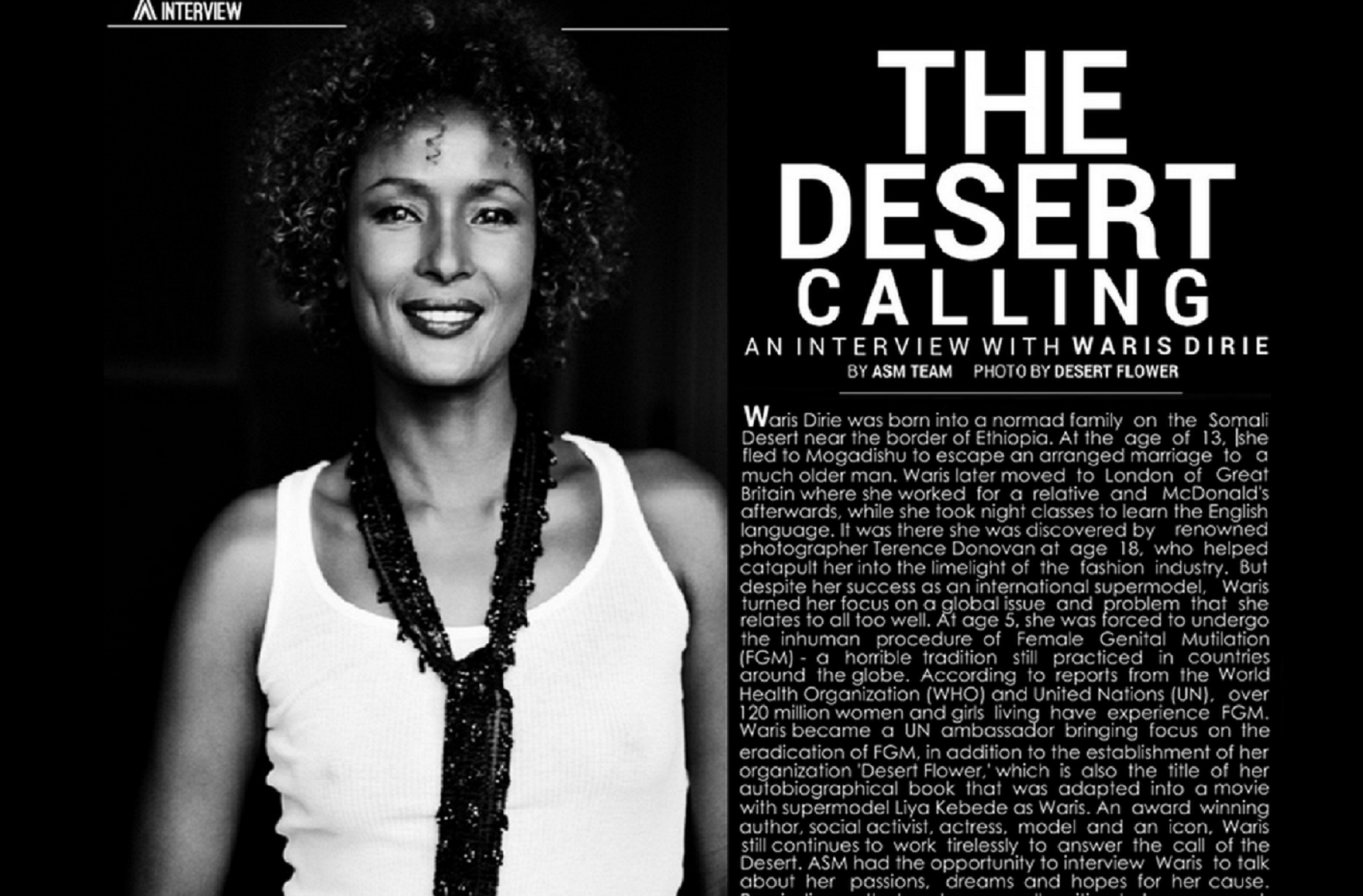 "Waris Dirie in ""Afrostyle Magazine"""